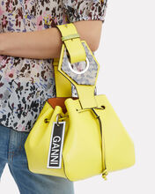 Bright Yellow Leather Bucket Clutch, YELLOW, hi-res