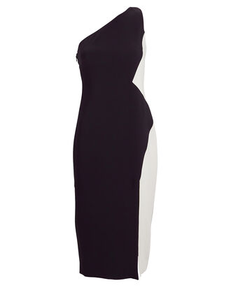 One-Shoulder Colorblock Dress, NAVY, hi-res