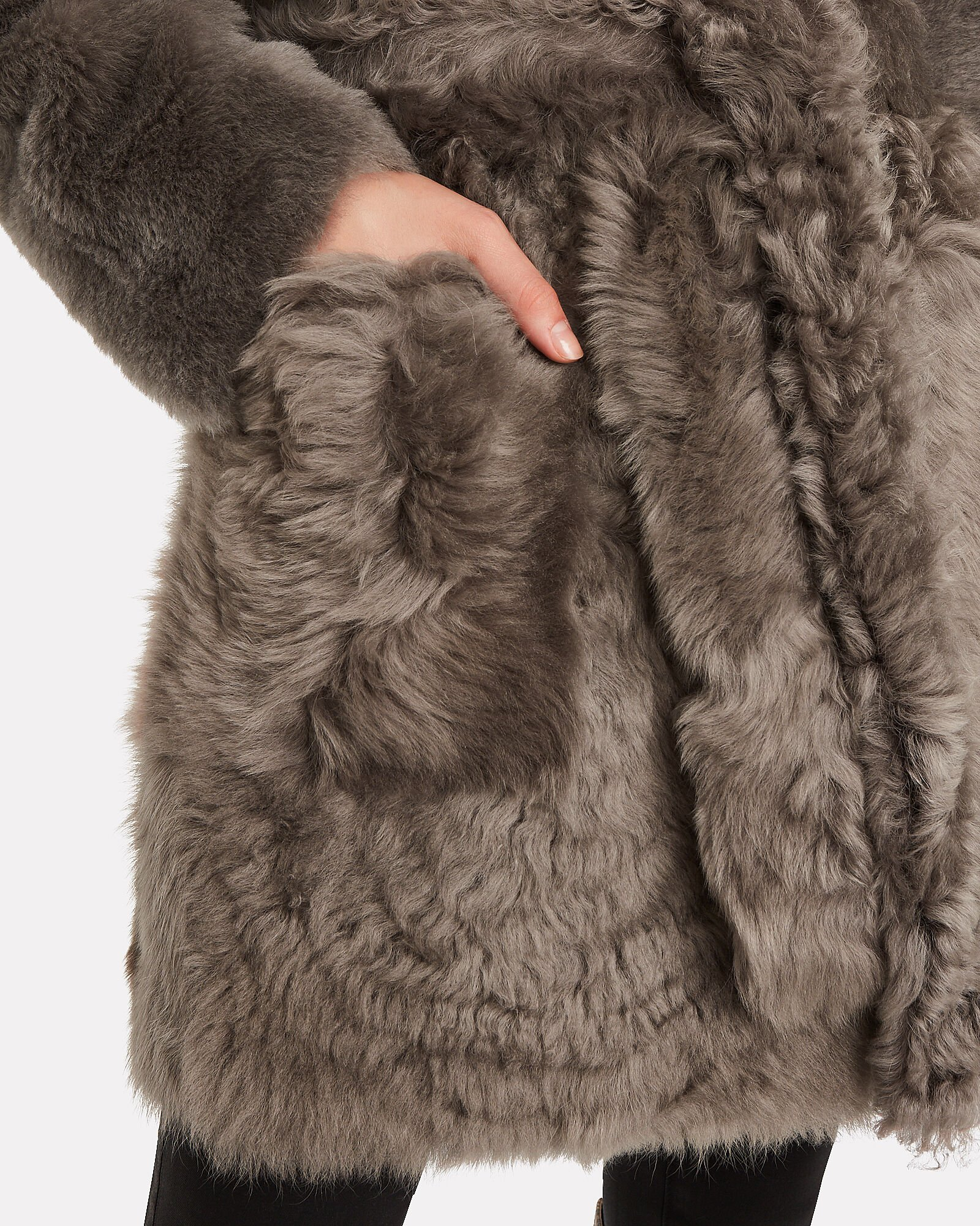 Belted Curly Shearling Coat, TAUPE, hi-res