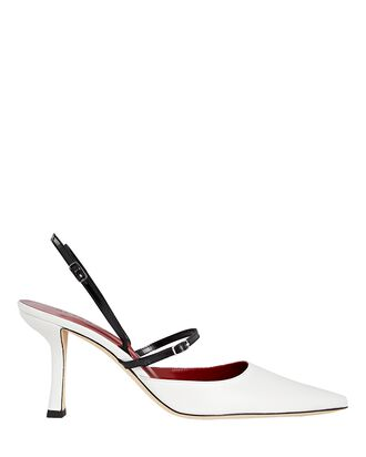 Tiffany Slingback Leather Pumps, WHITE, hi-res