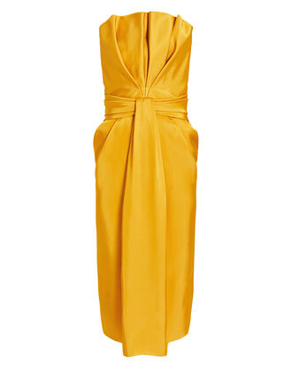 Petal Front Strapless Dress, YELLOW, hi-res