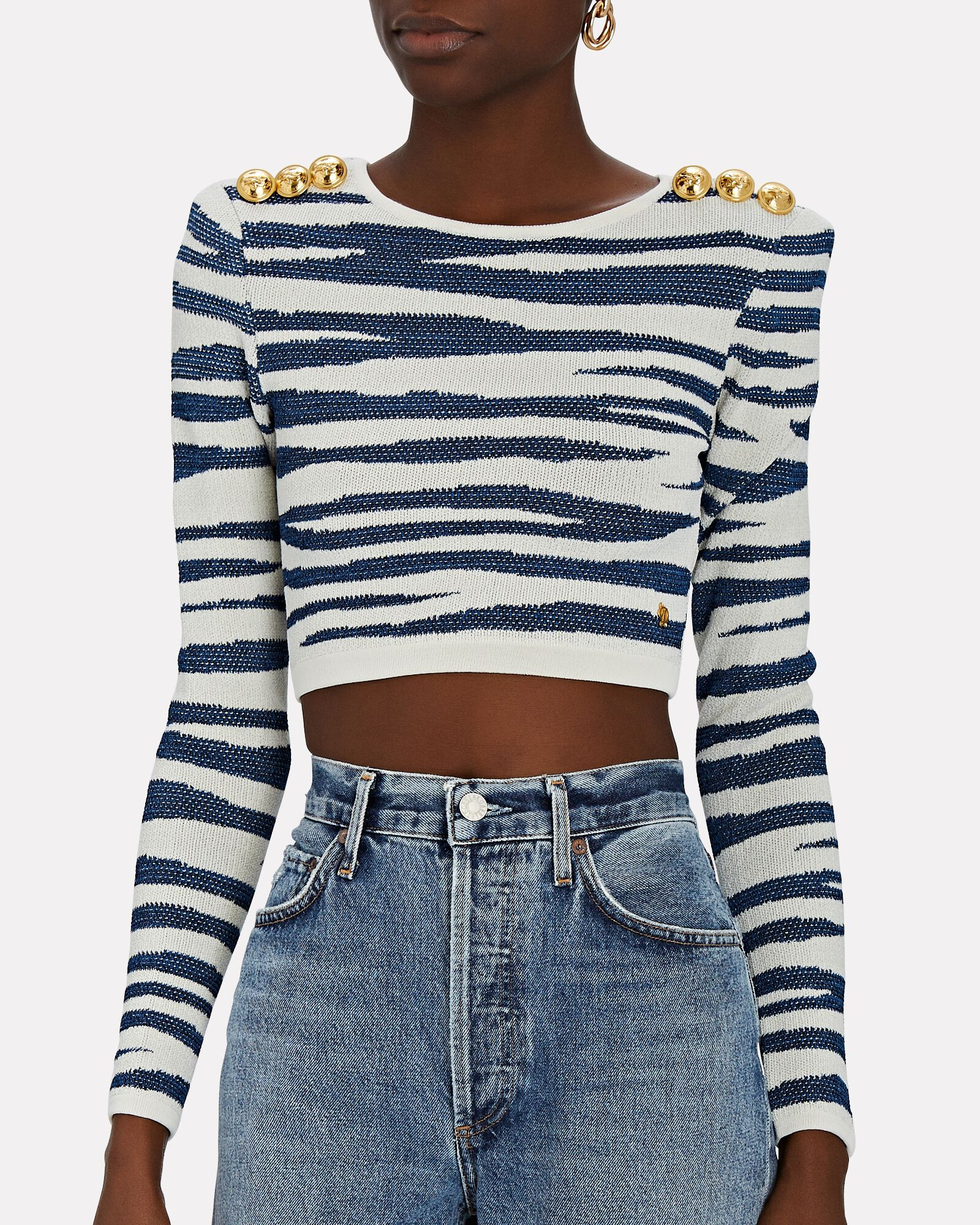 Tiger Knit Jacquard Crop Top, WHITE/BLUE, hi-res