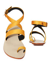 Hallie Yellow Toe Ring Sandals, YELLOW, hi-res