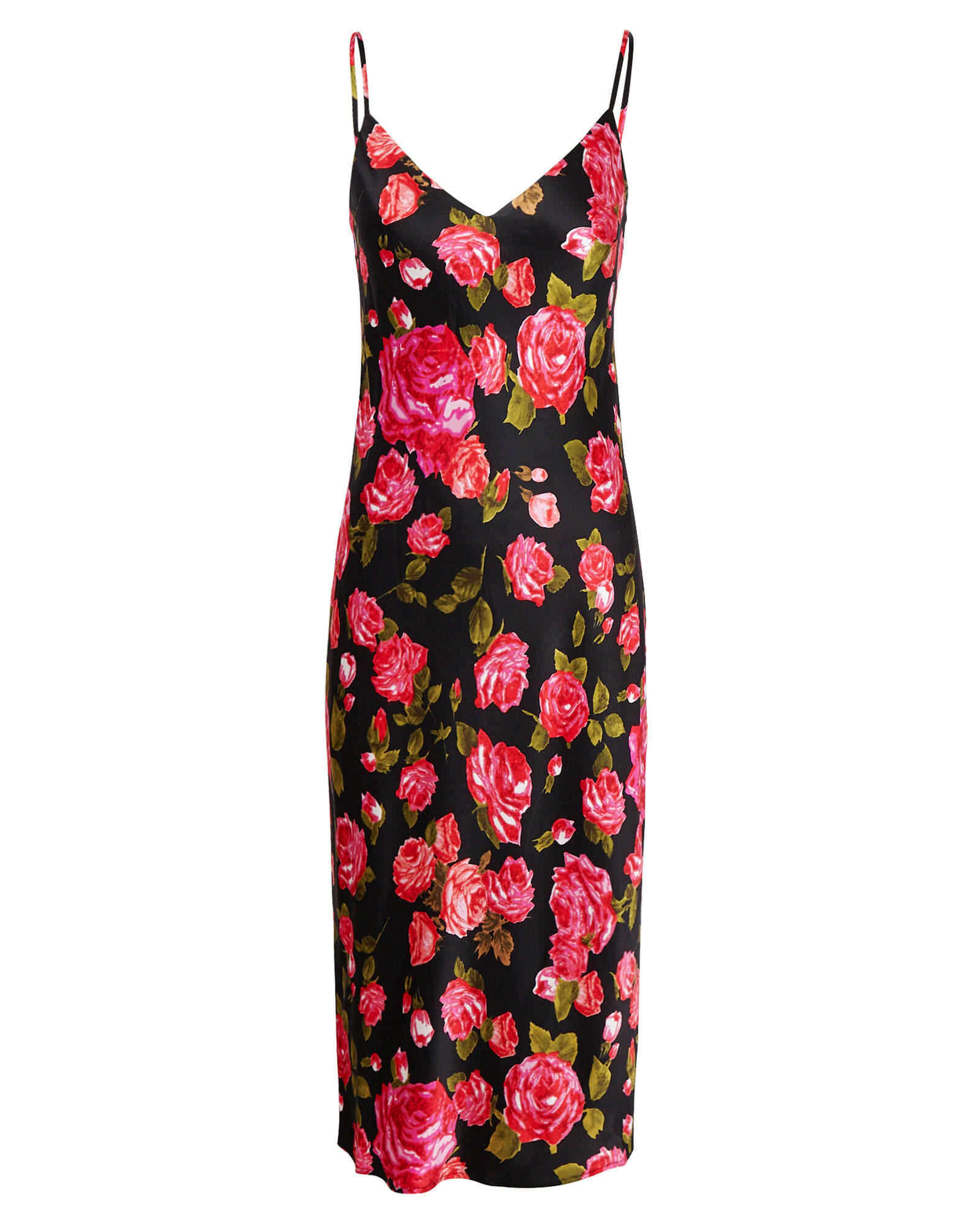 Jodie Silk Floral Slip Dress, BLACK/PINK, hi-res