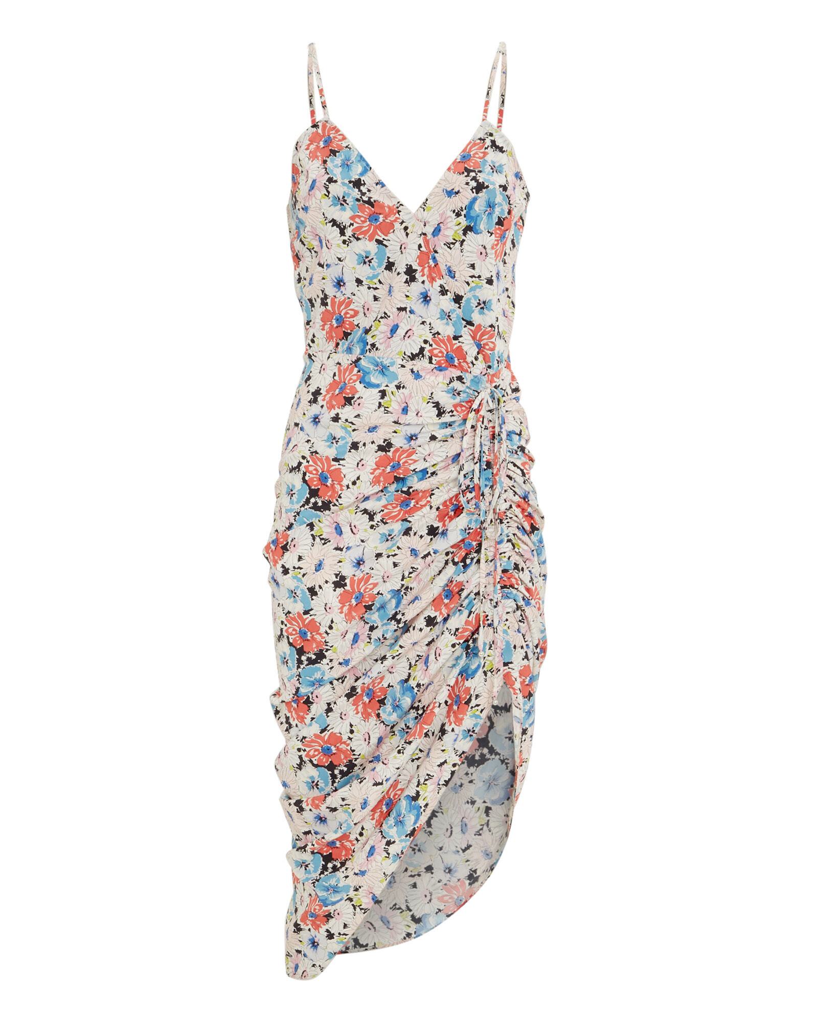 Annabelle Silk Ruched Floral Dress, MULTI, hi-res