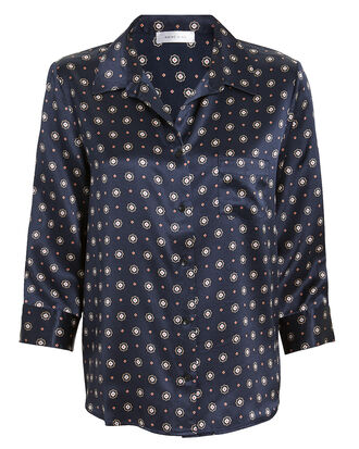 Billie Blouse, NAVY/PRINT, hi-res