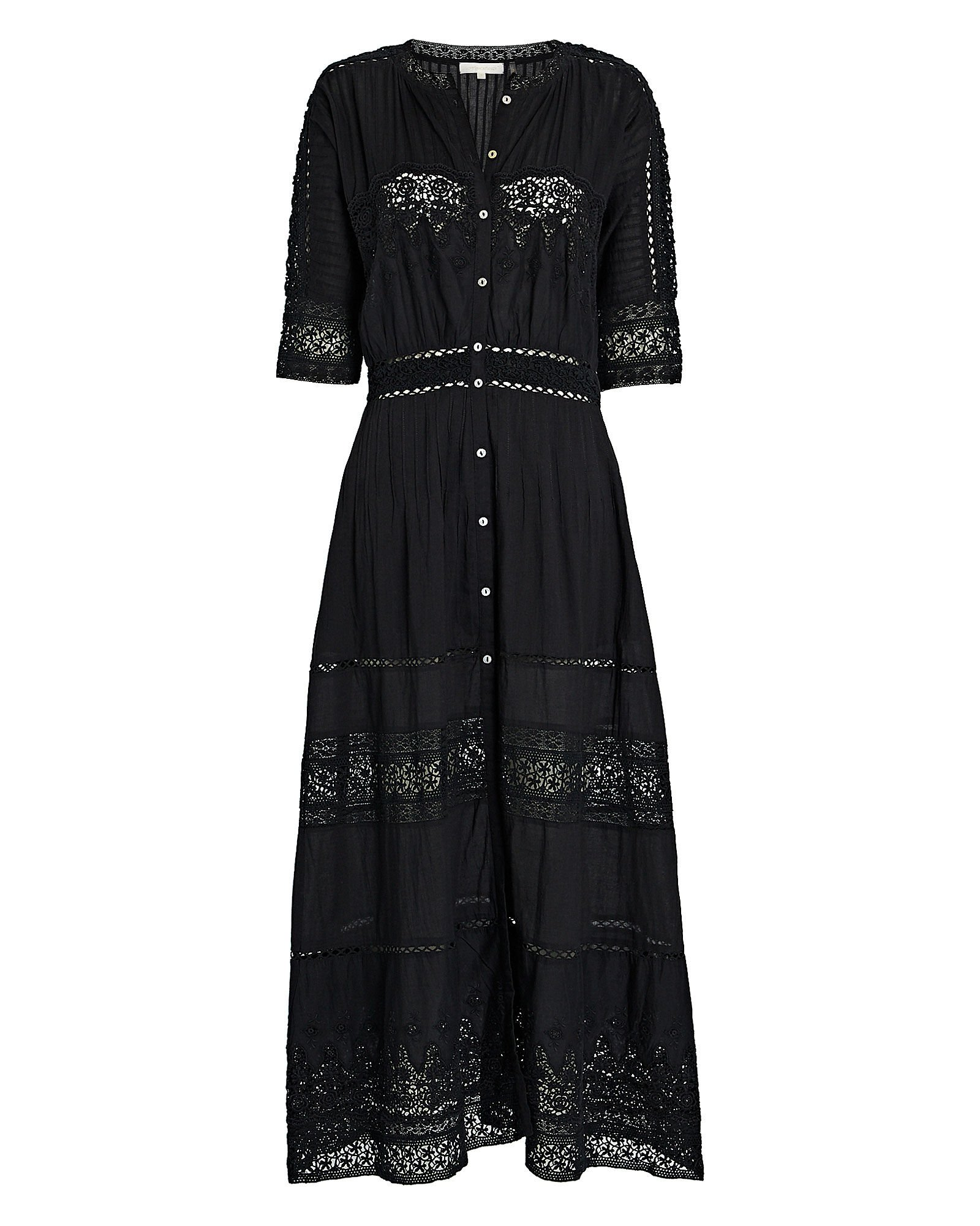 Beth Lace Cotton Midi Dress, BLACK, hi-res