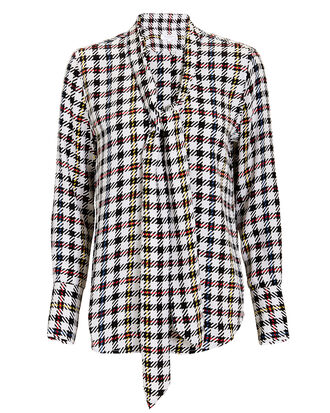 Luis Neck Tie Plaid Blouse, MULTI, hi-res