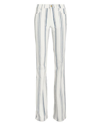 Le Flare Stripe Jeans, WHITE/BLUE, hi-res
