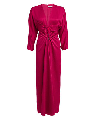 Rita Satin Jacquard Ruched Midi Dress, MERLOT, hi-res