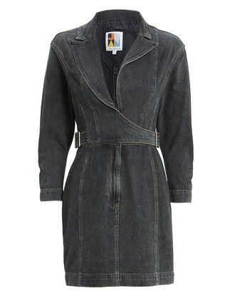 Gia Wrap Dress, GREY, hi-res