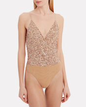 Sequin Camisole Bodysuit, GOLD, hi-res