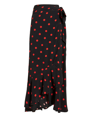 Barra Polka Dot Crepe Wrap Skirt, BLACK, hi-res