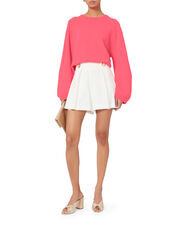 Balloon Sleeve Pink Wool Sweater, PINK, hi-res