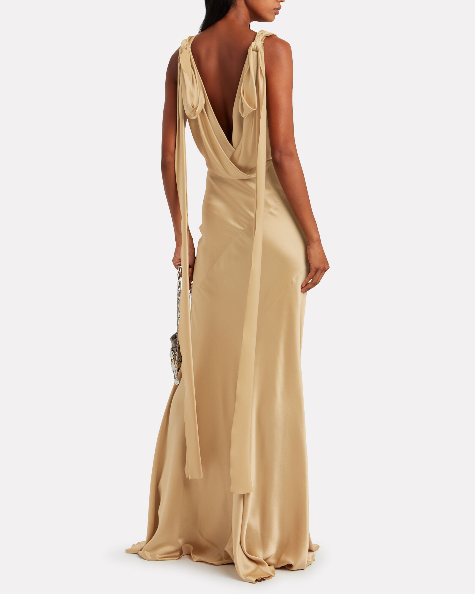 Draped Bias Cut Satin Gown, MARIGOLD, hi-res