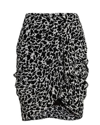 Sky Ruched Mini Wrap Skirt, BLACK, hi-res