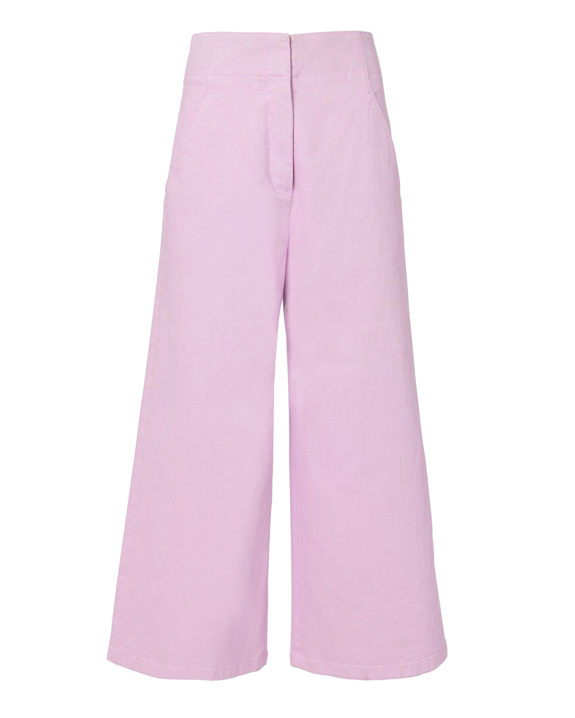 Twill Wide Leg Cropped Jeans, PURPLE-LT, hi-res