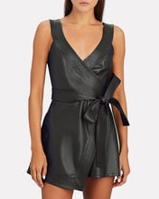 Risley Vegan Leather Wrap Romper, BLACK, hi-res