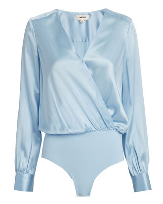 Tasha Silk Bodysuit, SKY BLUE, hi-res