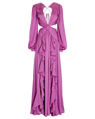 Ruffled Satin Cut-Out Gown, PURPLE, hi-res