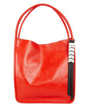 Red Leather Tote, RED, hi-res