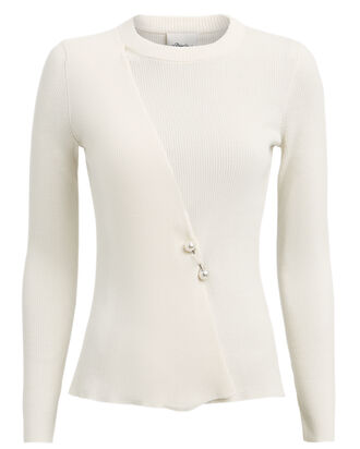 Faux Pearl Brooch-Embellished Sweater, WHITE, hi-res