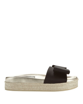 Nolga Satin Bow Slide Sandals, BLACK, hi-res