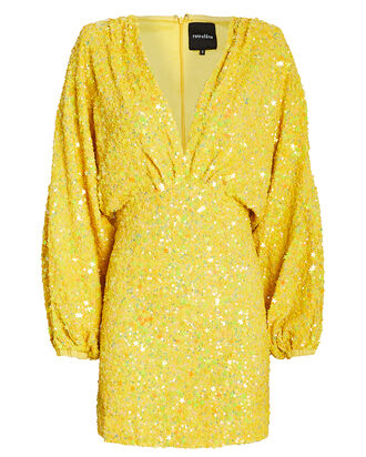 Aubrielle Sequin Mini Dress, YELLOW, hi-res