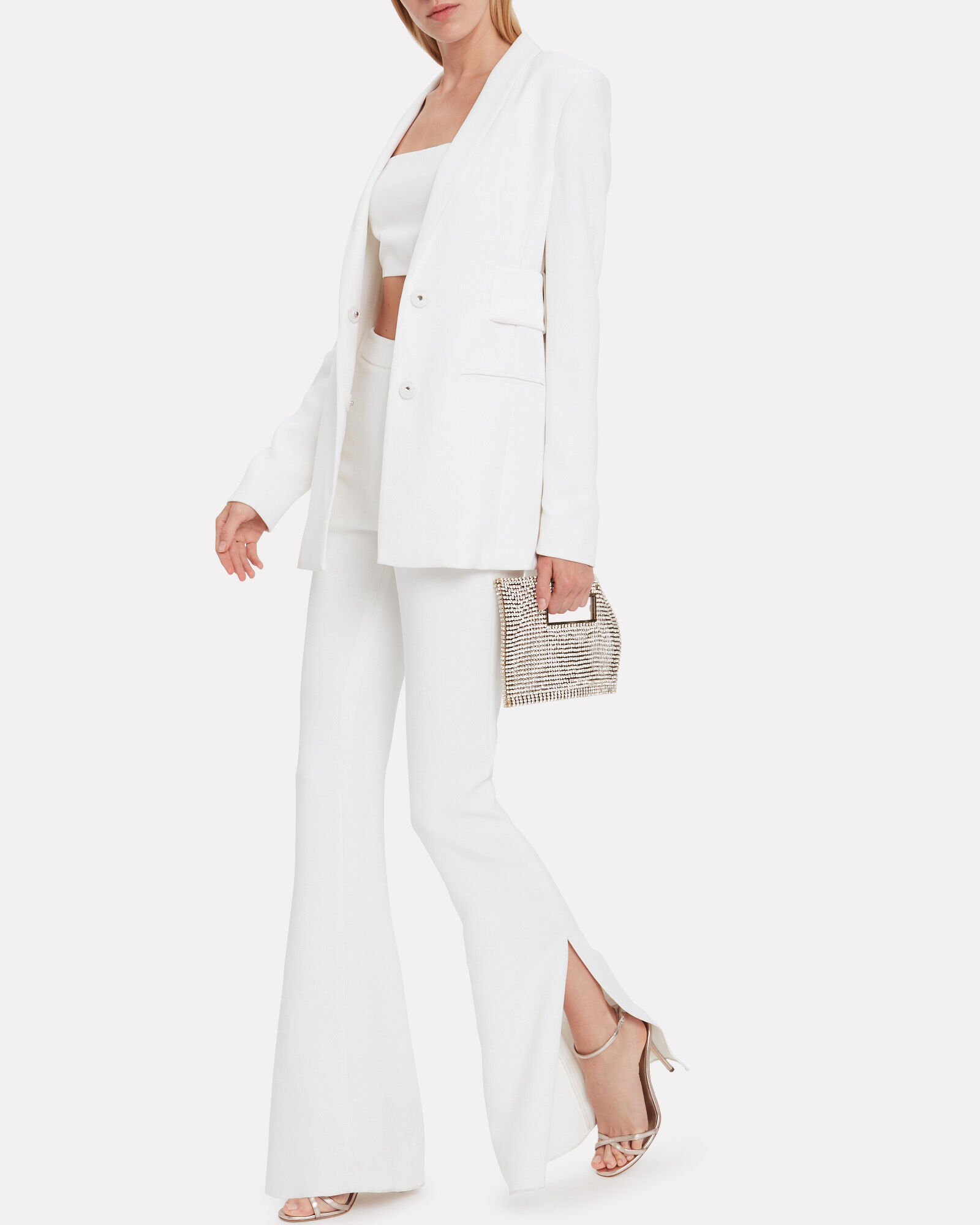 High-Rise Flared Trousers, WHITE, hi-res