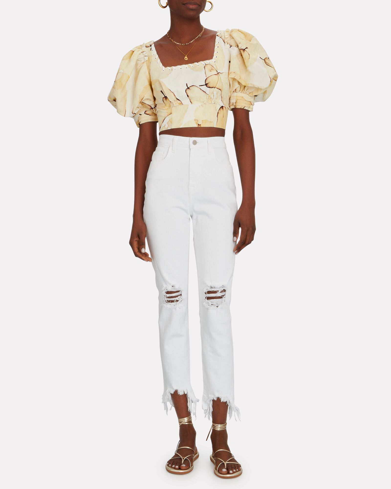 High Line Distressed Skinny Jeans, BLANC DESTROYED, hi-res