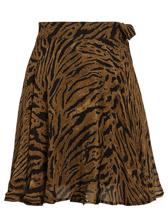 Tiger Striped Georgette Skirt, MULTI, hi-res