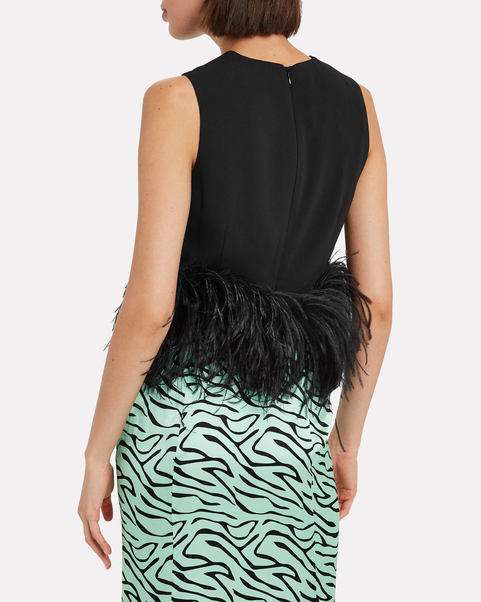 Feather Trimmed Crepe Tank Top, BLACK, hi-res