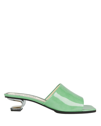 Sarah Metal Cutout Green Sandals, GREEN, hi-res