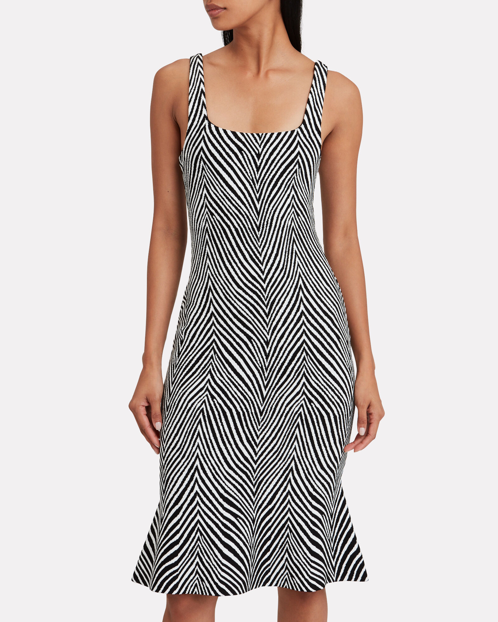 Shondra Zebra Knit Jacquard Dress, BLACK/WHITE, hi-res