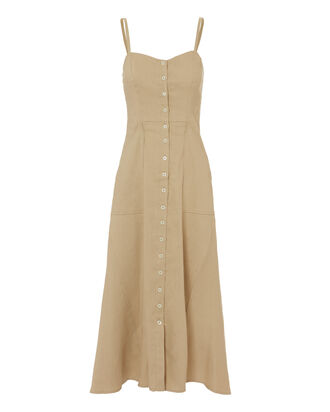 Button Front Midi Dress, BEIGE, hi-res