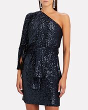 Sequined One-Shoulder Mini Dress, NAVY, hi-res