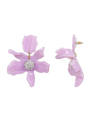 Crystal Lily Small Earrings, LILAC, hi-res