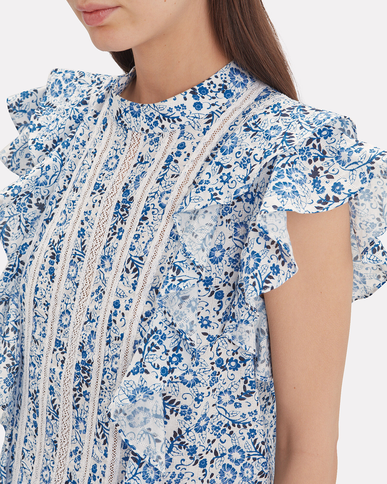 Sol Ruffle Sleeve Floral Blouse, BLUE/WHITE FLORAL, hi-res
