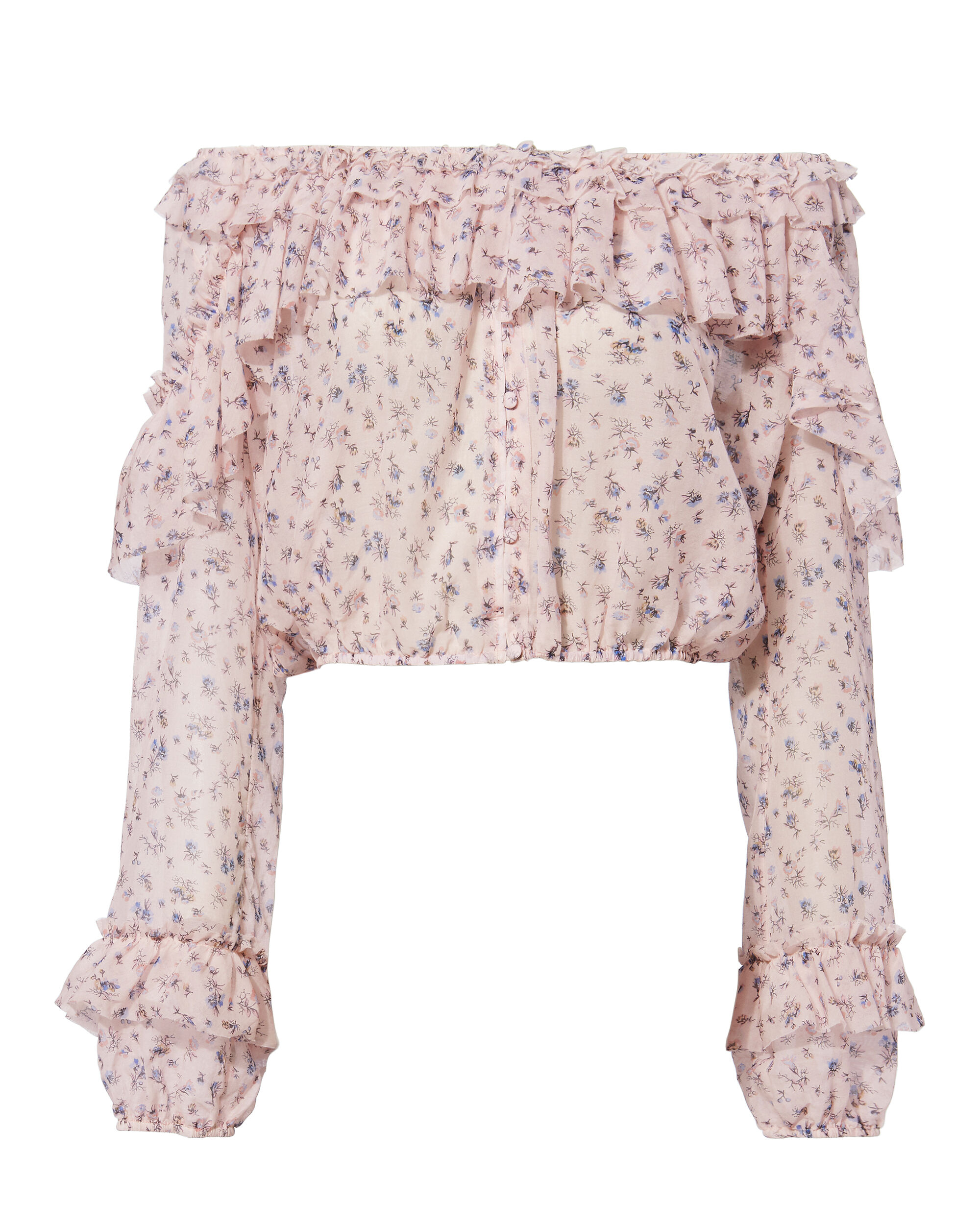Ruffle Popover Top, PINK, hi-res