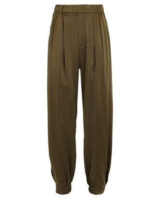 Neha Tapered Silk Trousers, OLIVE, hi-res