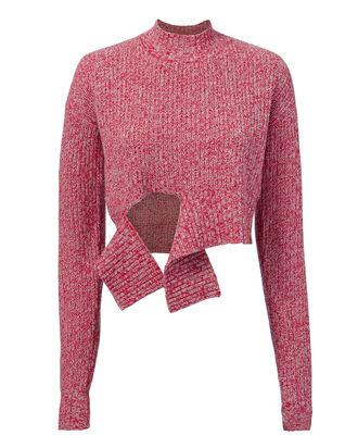 Foreman Tie Front Sweater, RED, hi-res
