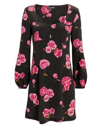 Bernice Floral Mini Dress, BLACK, hi-res