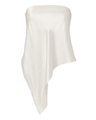 Asymmetrical Bustier Top, WHITE, hi-res