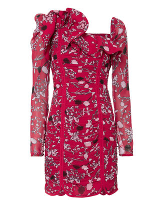 Ruched Floral Mini Dress, RED, hi-res