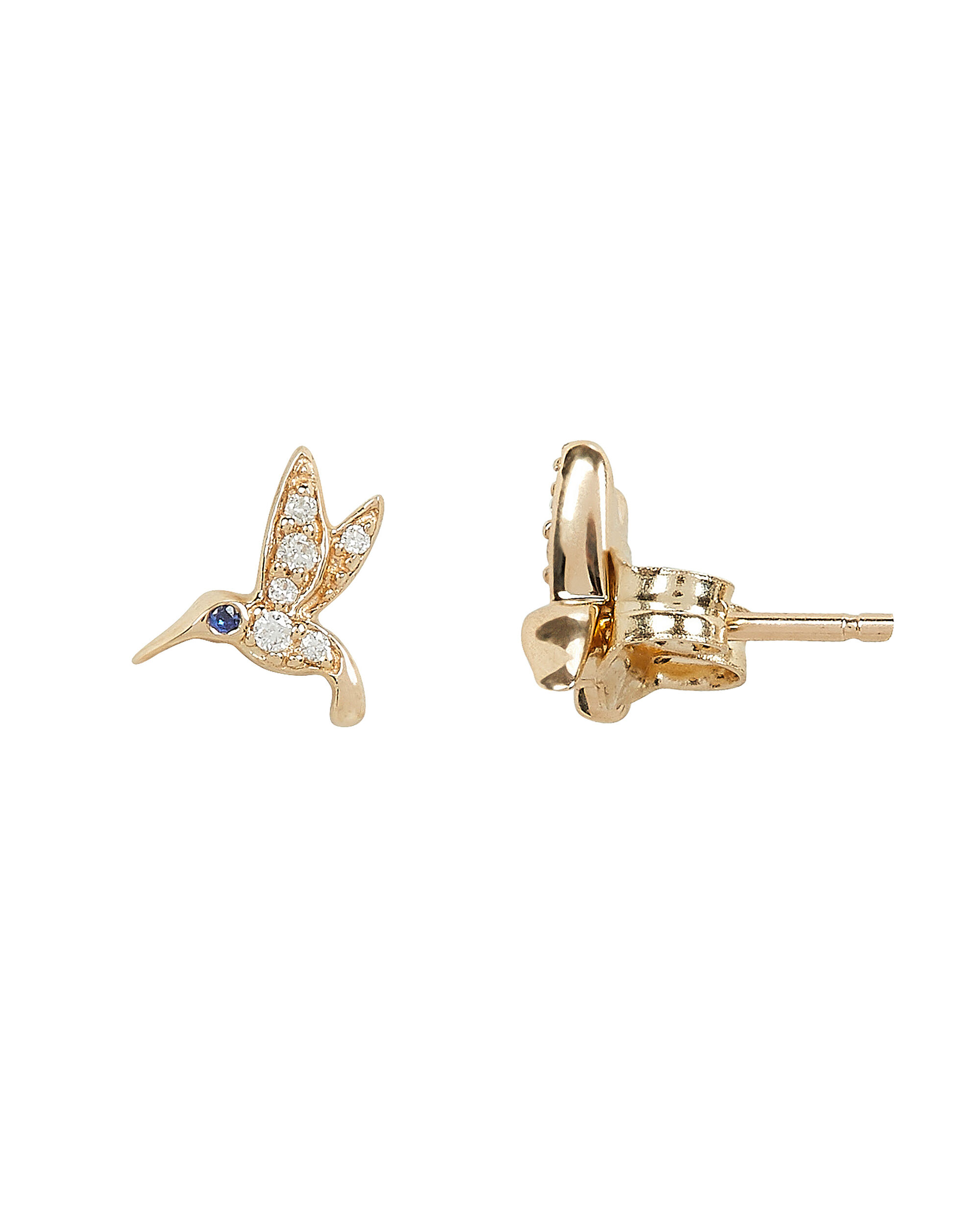 Tiny Hummingbird Diamond Studs, GOLD, hi-res