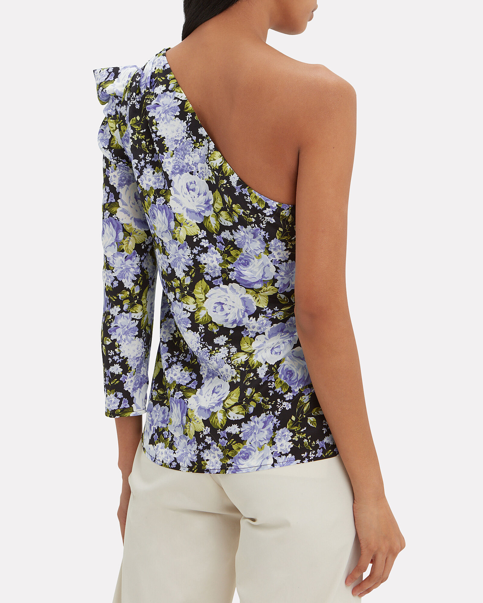 One Shoulder Floral Silk Top, MULTI, hi-res