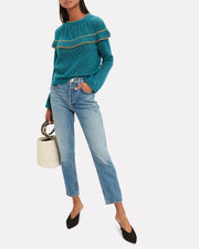 Teal Ruffle Sweater, GREEN, hi-res