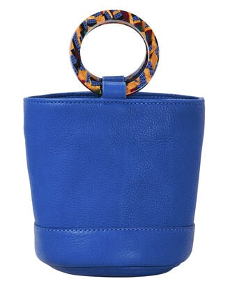 Bonsai Blue Leather Mini Bucket Bag, BLUE-MED, hi-res
