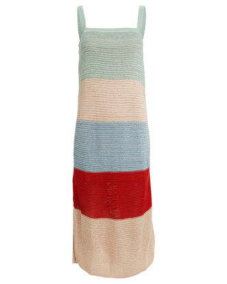 Lucy Striped Knit Sleeveless Dress, GREEN/IVORY/RED, hi-res