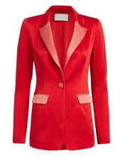 Nevra Satin Blazer, RED, hi-res